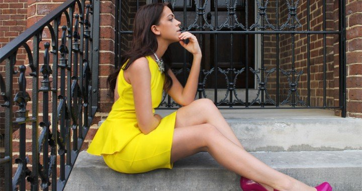 WELCOME TO THE NEW FOXY OXIE - YELLOW ASOS PEPLUM DRESS - PINK ALDO SHOES