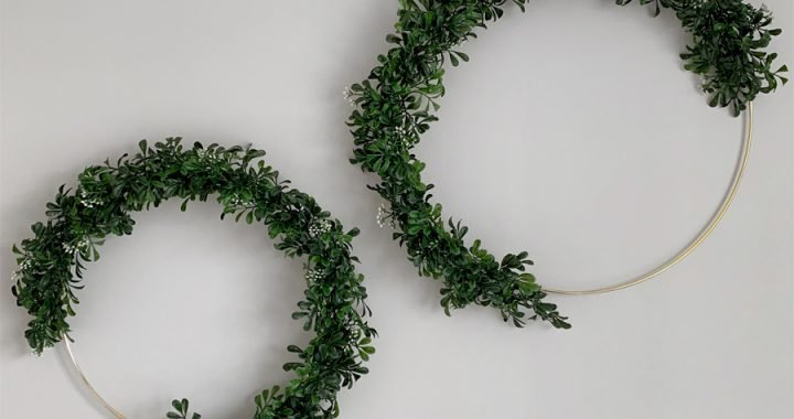 The Easiest DIY Gold Hoop and Greenery Wreath