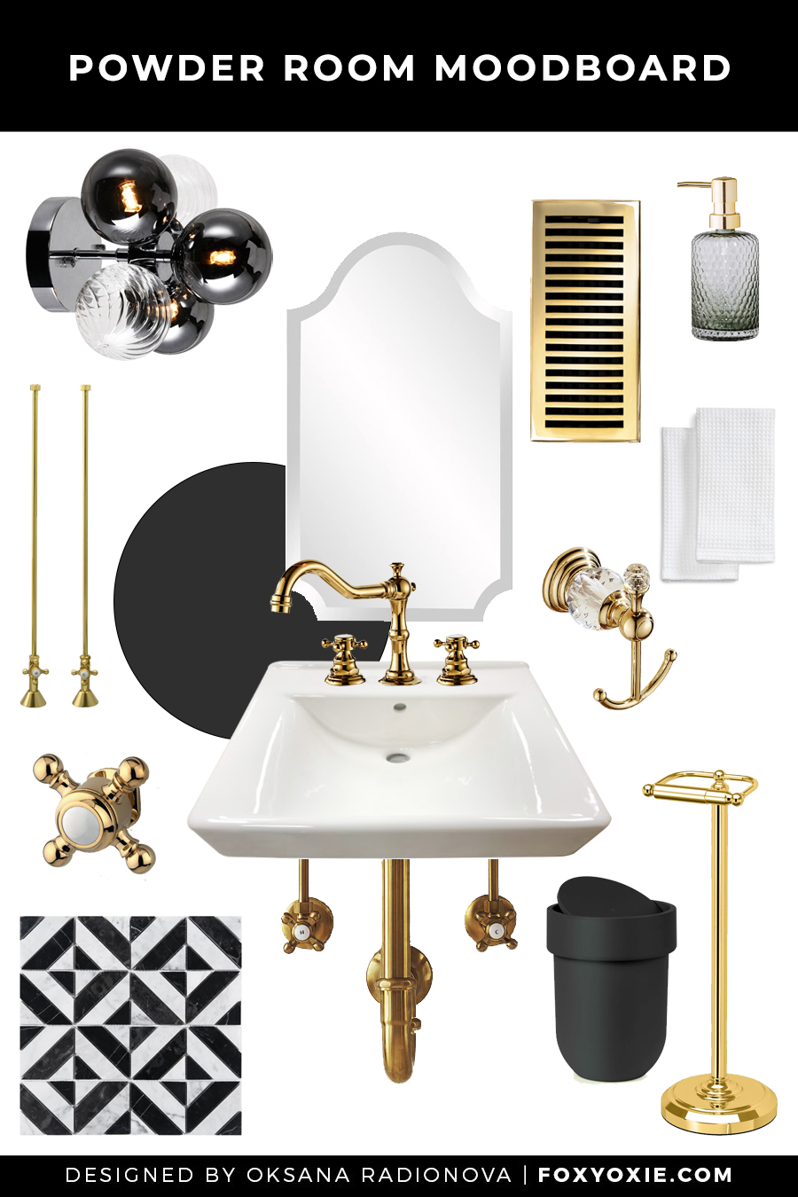 Moody Powder Room Design Plan